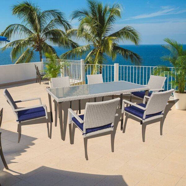 Tenny 7 Piece Dining Set with Sunbrella Cushions by Rosecliff Heights
