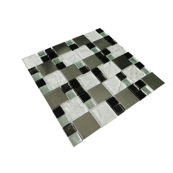 Twilight Series Random Sized Glass and Aluminum Mosaic Tile in Glossy White by WS Tiles