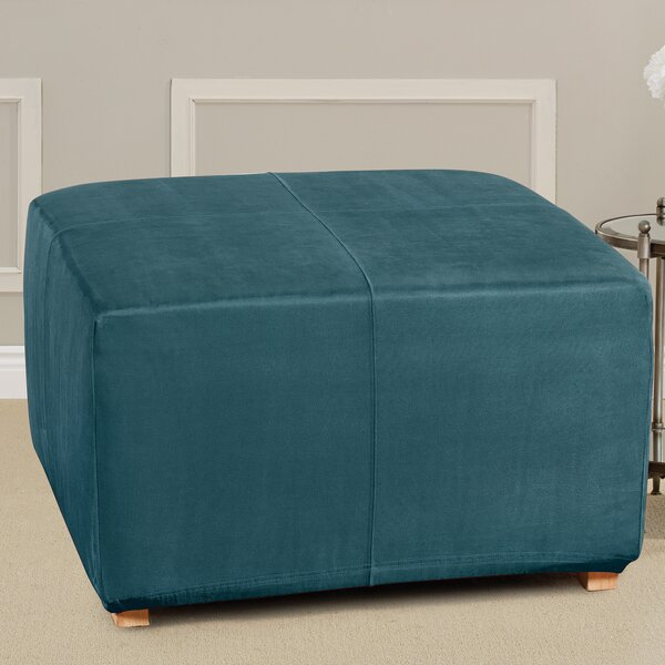 Ultimate Heavyweight Stretch Suede Box Cushion Ottoman Slipcover by Sure Fit
