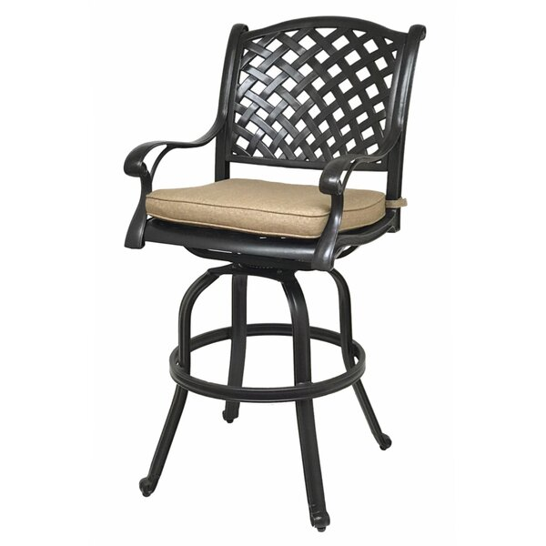 Beadle 30 Patio Bar Stool with Cushion (Set of 2) by Darby Home Co