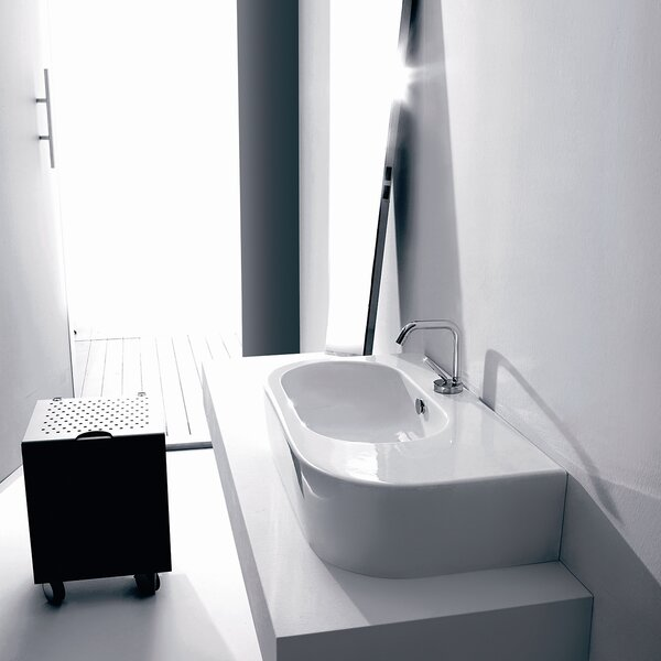 Flo Ceramic Ceramic U-Shaped Vessel Bathroom Sink with Overflow by WS Bath Collections