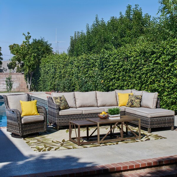 Scruggs Outdoor 5 Piece Sofa Seating Group with Cushions by Bayou Breeze
