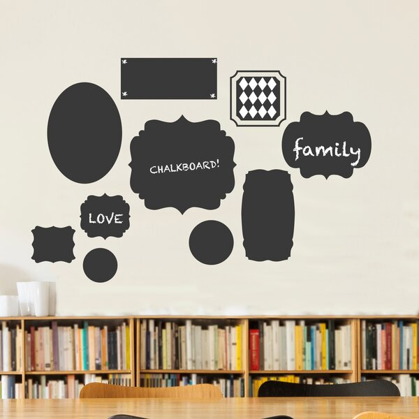 Cluster of Frames In Various Shapes Chalkboard Wall Decal by Dana Decals