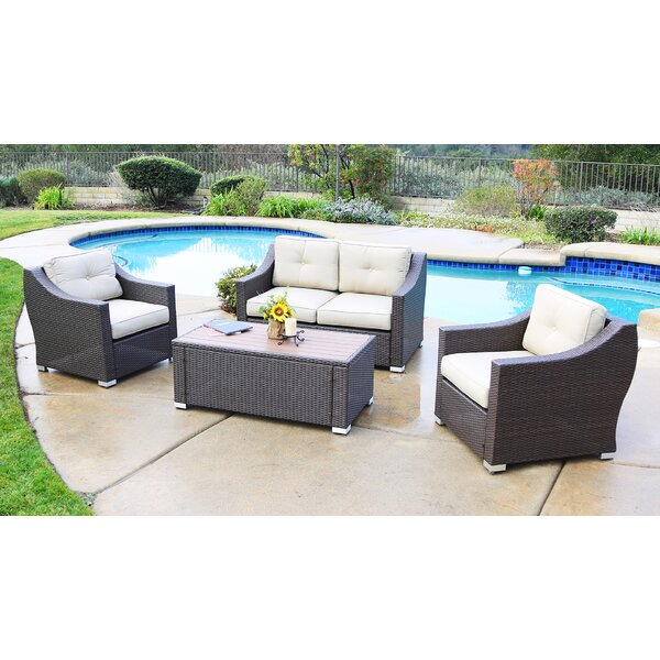 Suai 4 Piece Seating Group with Cushions by Brayden Studio