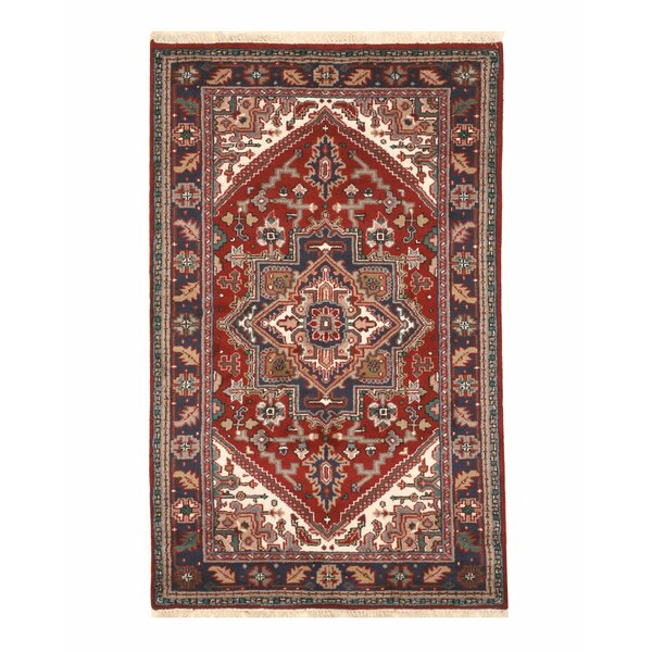 Aren Hand-Knotted Wool Red Area Rug by Bloomsbury Market