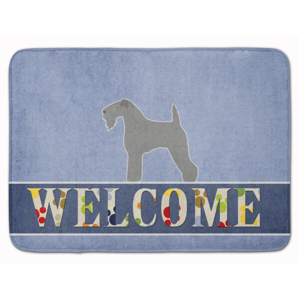 Ridgewood Blue Terrier Welcome Rectangle Microfiber Non-Slip Bath Rug
