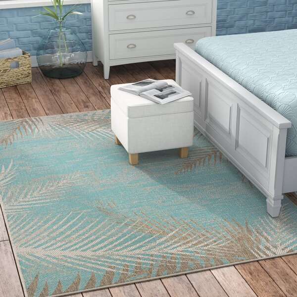 Odilia Tropical Palms Turquoise/Gray/Ivory Indoor/Outdoor Area Rug by Beachcrest Home