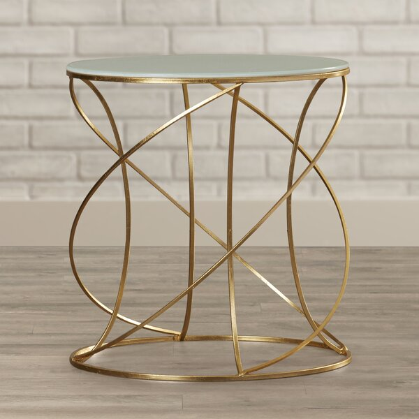 Rex Glass Top Frame End Table By Wrought Studio