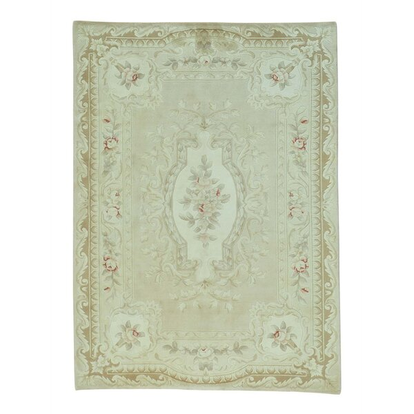 One-of-a-Kind Giancola Aubusson Thick and Plush Hand-Knotted Silk Beige Area Rug by World Menagerie