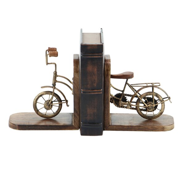 Rustic Split Bicycle Bookends (Set of 2) by Williston Forge