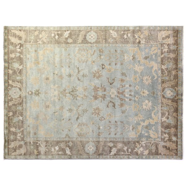 Oushak Hand-Knotted Wool Brown/Light Blue Area Rug by Exquisite Rugs