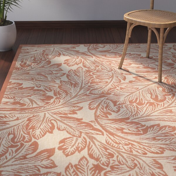 Amaryllis Natural/Terracotta Outdoor Area Rug by Bay Isle Home