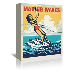 Making Waves Vintage Advertisement on Gallery Wrapped Canvas by East Urban Home