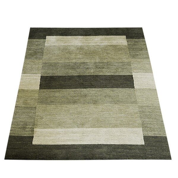 St. Charles Hand-Knotted Wool Green/Black Area Rug by Ebern Designs