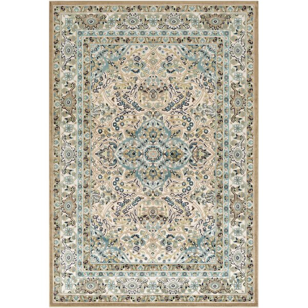 Sonnet Floral Teal/Beige Area Rug by World Menagerie