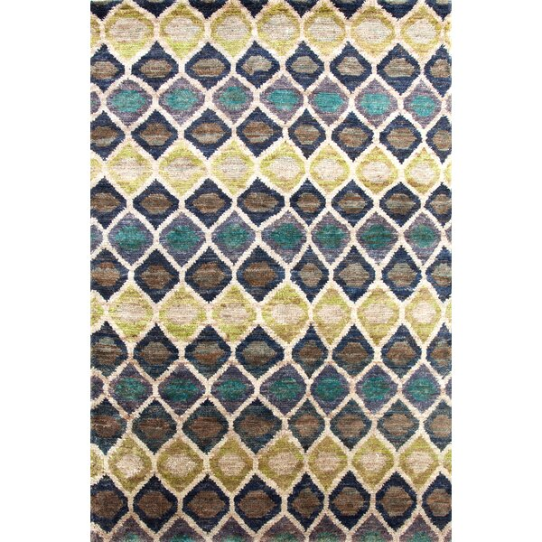 Prism Hand-Knotted Beige/Blue Area Rug by Dash and Albert Rugs