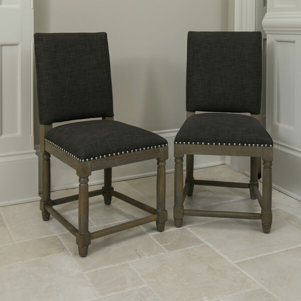 Quan Linen Upholstered SideChair Weathering Ash (Set Of 2) By Alcott Hill