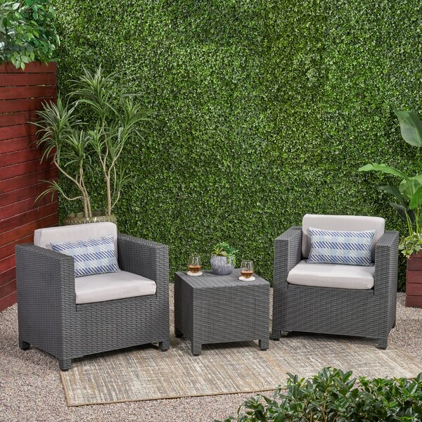 3 Piece Wicker Seating Group with Cushions by Breakwater Bay