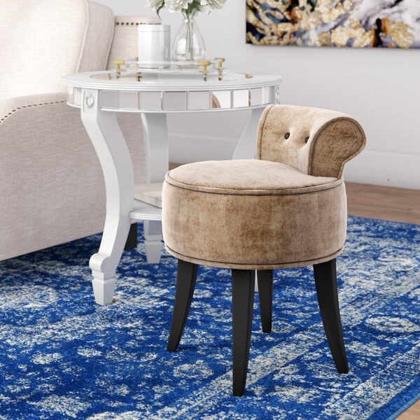 Hyun Vanity Stool with Wood Frame by Willa Arlo Interiors