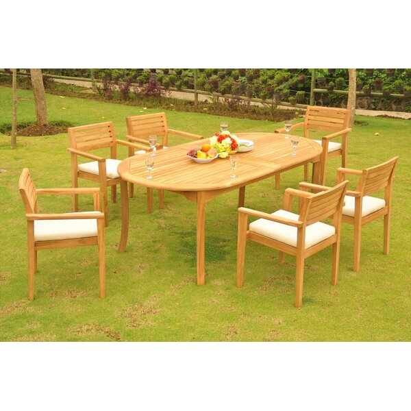 Godeus 7 Piece Teak Dining Set by Rosecliff Heights