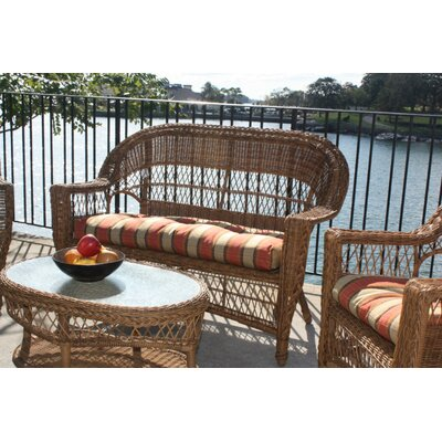 Camacho Outdoor Loveseat Finish: Natural, Fabric: Jamaica Mist