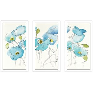 'Black Line Poppies III Watercolor' Framed Acrylic Painting Print Multi-Piece Image on Glass by Red Barrel Studio
