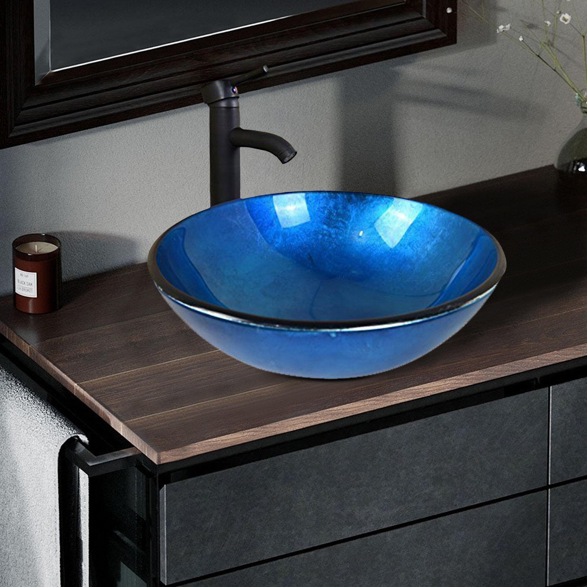 Flanna Tall Glass Circular Console Bathroom Sink With Faucet Wayfair