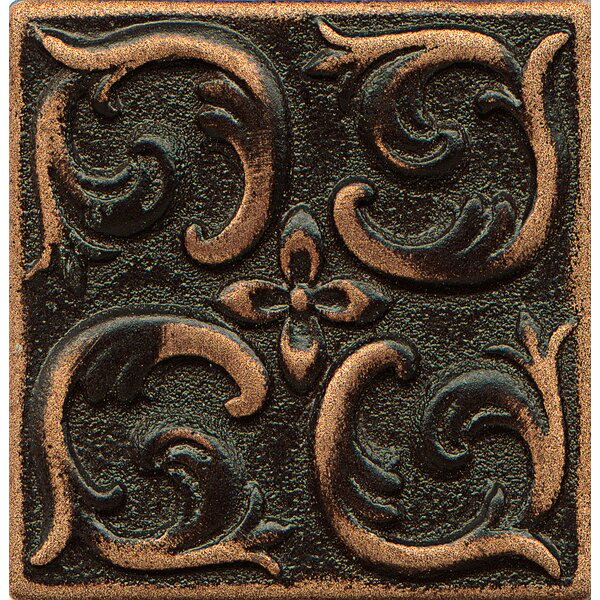 Ambiance Insert Wave 2 x 2 Resin Tile in Venetian Bronze by Bedrosians