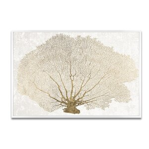 'Gold Coral Fan' Framed Graphic Art Print on Canvas by Rosecliff Heights