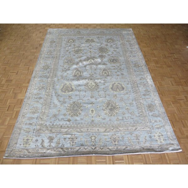 One-of-a-Kind Josephson Oushak Hand-Knotted Silk Sky Blue Area Rug by Canora Grey