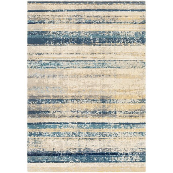 Oakdene Distressed Striped Navy/Taupe Area Rug by Wrought Studio