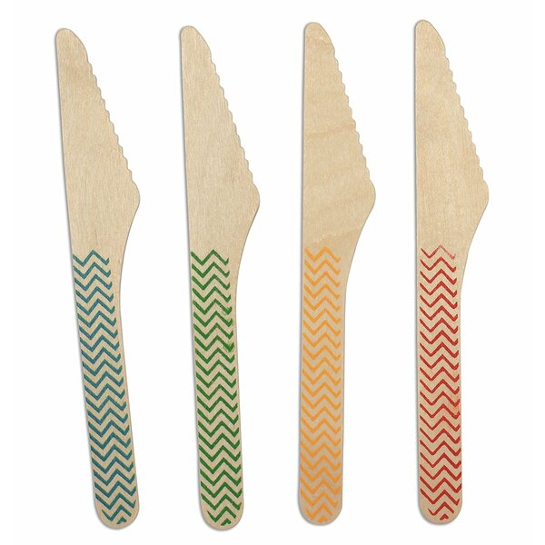 Zig Zag Print Birchwood Compostable Knife (Set of 600) by CaterEco