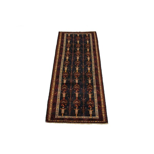 Sunizona Oriental Hand-Knotted Wool Black/Yellow Area Rug