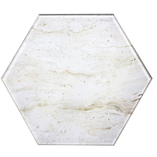 Nature 8 x 8 Glass Hexagon Tile in Crema Marfil/Tan by Abolos