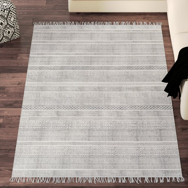 Blairsville Handwoven Cotton Gray Area Rug by Bungalow Rose