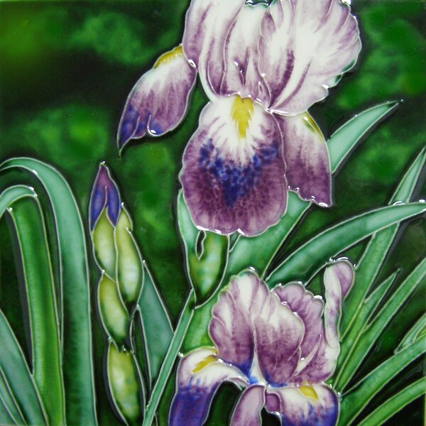Lavender Iris Tile Wall Decor by Continental Art Center