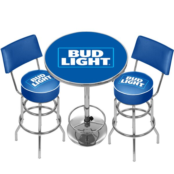 Bud Light 3 Piece Pub Table Set by Trademark Global Trademark Global