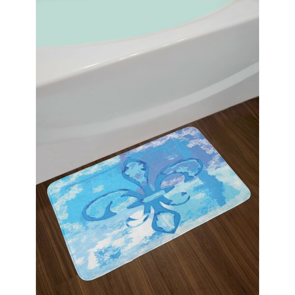 Fleur de Lis Illustration of Lily Flower Like Frozen Heredic Nobility Emblem Queenly Print Non-Slip Plush Bath Rug by East Urban Home