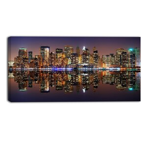 City of Manhattan Panorama Cityscape Photographic Print on Wrapped Canvas by Design Art