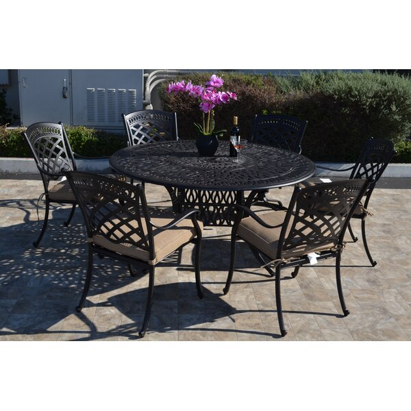 Wildermuth 7 Piece Dining Set with Cushions by Fleur De Lis Living