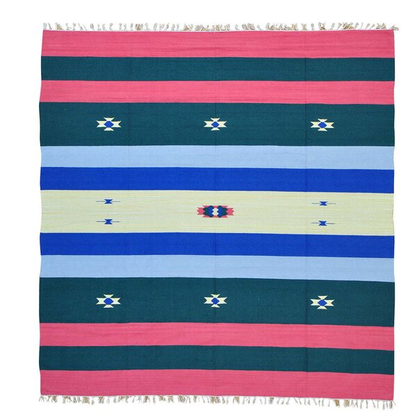 One-of-a-Kind Tolentino Flat Weave Killim Hand-Knotted Cotton Blue/Red Area Rug by Millwood Pines
