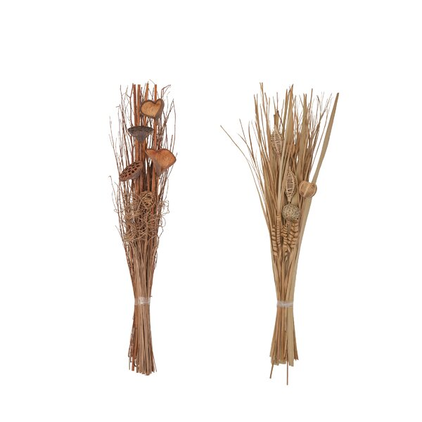 Tall Slim Dried Plant Bouquet Floral Arrangement (Set of 2) by Winston Porter