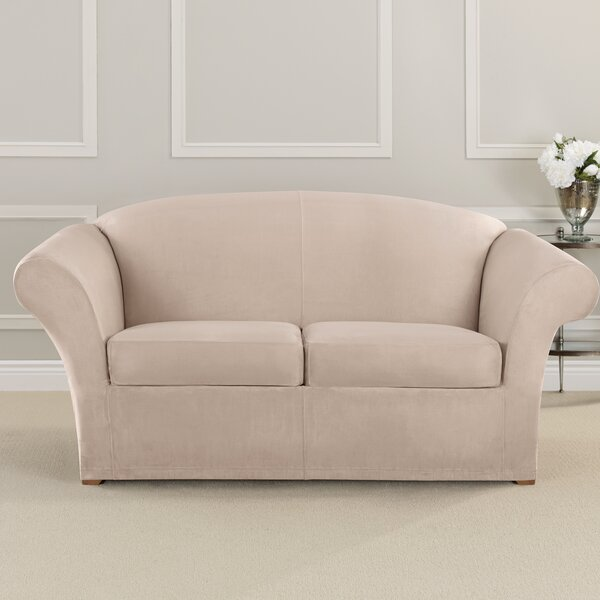 Ultimate Heavyweight Stretch Suede Box Cushion Loveseat Slipcover by Sure Fit