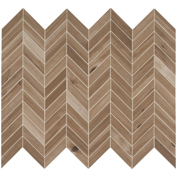 Havenwood Saddle Chevron Glazed Mesh Mounted Porcelain Wood Look/Mosaic Tile in Brown by MSI
