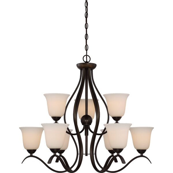 Ehrlich 2 Tier 9-Light Shaded Chandelier by Charlton Home