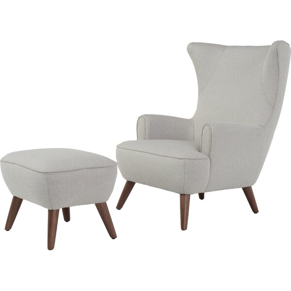Ruby High Back Wingback Chair and Ottoman by Corrigan Studio