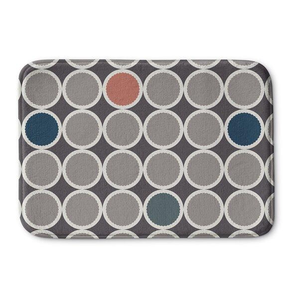 Scalloped Circles Rectangle Memory Foam Non-Slip Bath Rug