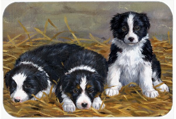 Border Collie Puppies Glass Cutting Board by East Urban Home
