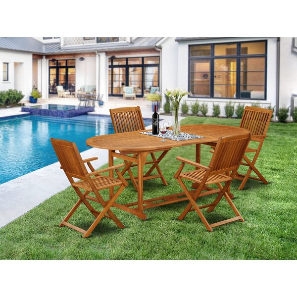 Jagger 5 Piece Patio Dining Set by Longshore Tides