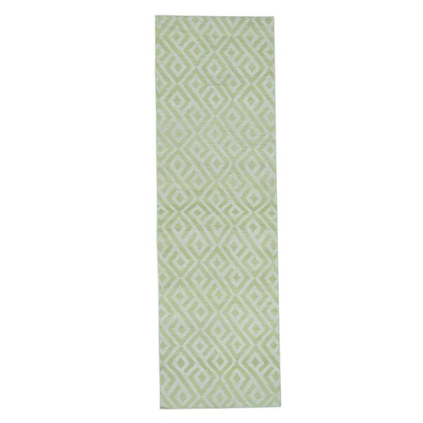 Reversible Kilim Flat Weave Hand-Knotted Light Green/Ivory Area Rug by Ivy Bronx